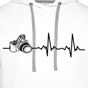 My heart beats for photography! I love photography! Shirts - Men's Premium Hoodie