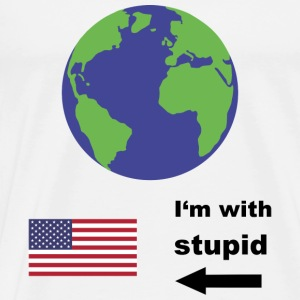 Earth - I'm with stupid usa Långärmade T-shirts - Premium-T-shirt herr