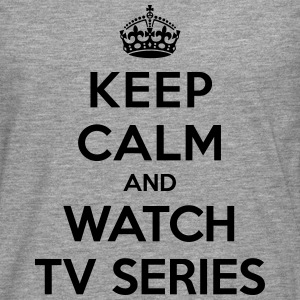 Keep calm and watch tv series T-shirts - Herre premium T-shirt med lange ærmer