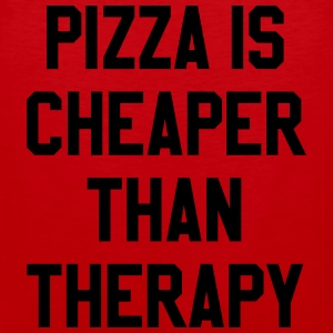 Pizza Is Cheaper Than Therapy T-shirts - Mannen Premium tank top