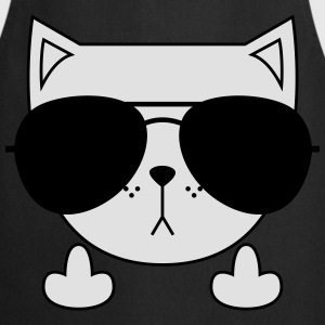 Cute Cat Icon | Sunglasses | Middle Finger T-Shirts - Cooking Apron