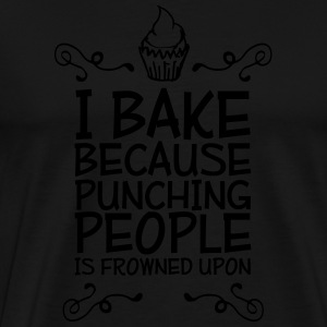 i bake because punching people i Vesker & ryggsekker - Premium T-skjorte for menn
