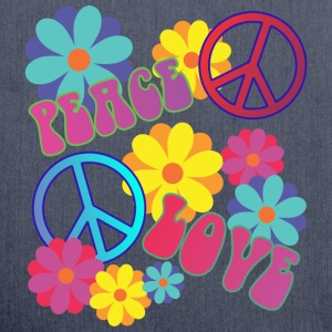 love peace hippie flower power - Schultertasche aus Recycling-Material