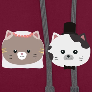 Cat wedding couple Sn557 Bags & Backpacks - Contrast Colour Hoodie