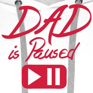 Dad is paused quote button  Aprons - Men's Premium Hoodie