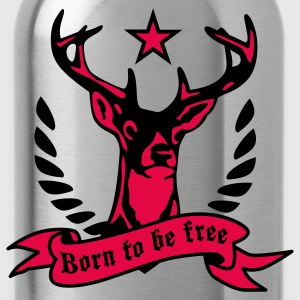 Hirsch - born to be free  T-Shirt - Trinkflasche