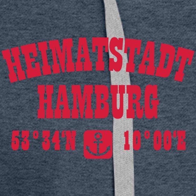 Heimatstadt Hamburg Koordinaten Anker Hoodie