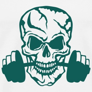 skull bodybuilding dead head dumbbell Tops - Men's Premium T-Shirt