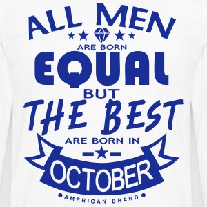october men equal best born month logo  Aprons - Men's Premium Longsleeve Shirt