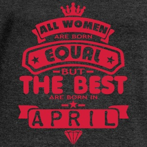 april women equal best born month logo T-Shirts - Women's Boat Neck Long Sleeve Top