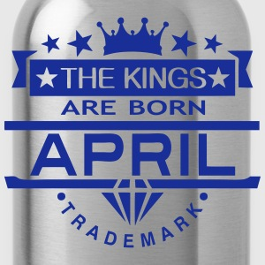 april kings born birth month crown logo  Aprons - Water Bottle