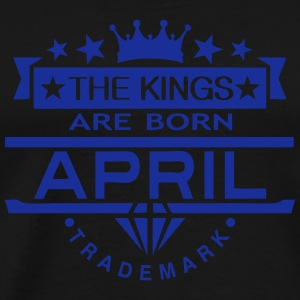 april kings born birth month crown logo  Aprons - Men's Premium T-Shirt