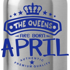 april born queens crown logo T-Shirts - Water Bottle