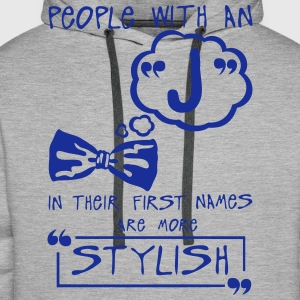 j stylish letter first names citation T-Shirts - Men's Premium Hoodie