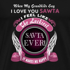Grandkids I Love You Luckiest Savta Ever Tshirt Mugs & Drinkware - Men's Premium T-Shirt