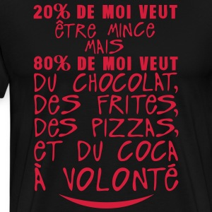 20 80 veut mince chocolat citation volon Tabliers - T-shirt Premium Homme