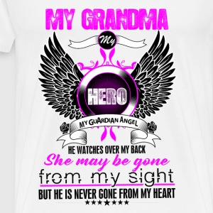 Grandma My Hero My Guardian Angel She Watches Ove Tops - Men's Premium T-Shirt