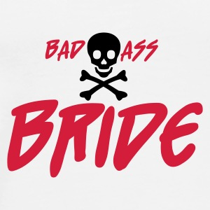 Vit Bad Ass Bride Knappar - Premium-T-shirt herr