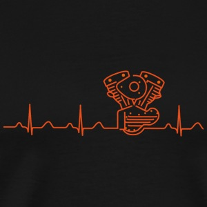 V2 Shovelhead Heartbeat orange  Caps & Hats - Men's Premium T-Shirt
