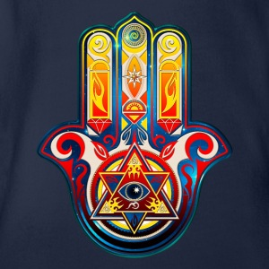 Hamsa Hand Of Fatima, Symbol, Eye, Pyramide Shirts - Organic Short-sleeved Baby Bodysuit