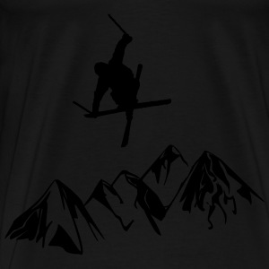 Mountain aprons with skiers - Men's Premium T-Shirt
