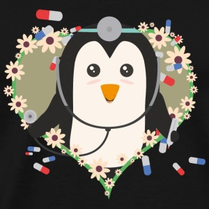 Penguin doctor with flower heart Suq99 design Mugs & Drinkware - Men's Premium T-Shirt
