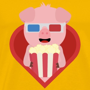 Cinema pig with popcorn in the heart of Sxitv design Mugs & Drinkware - Men's Premium T-Shirt