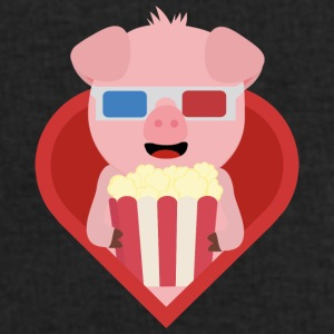 Cinema pig with popcorn in the heart of Sxitv design Mugs & Drinkware - Men's Sweatshirt by Stanley & Stella