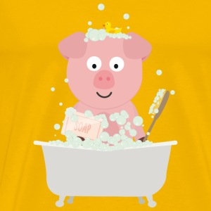 Pig in bath with bubbles Sgydd design Mugs & Drinkware - Men's Premium T-Shirt