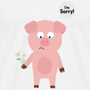 Pig apology with flower Sdzv4 design Mugs & Drinkware - Men's Premium T-Shirt