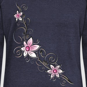 Blumenranke mit pink farbenen Blüten T-Shirts - Women's Boat Neck Long Sleeve Top