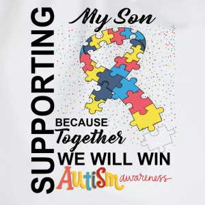Supporting My Son We Will Win Autism Awareness T-Shirts - Drawstring Bag