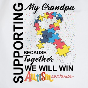 Supporting Grandpa We Will Win Autism Awareness T-Shirts - Drawstring Bag