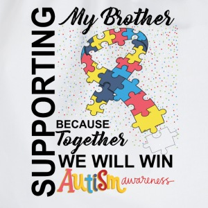 Supporting Brother We Will Win Autism Awareness T-Shirts - Drawstring Bag