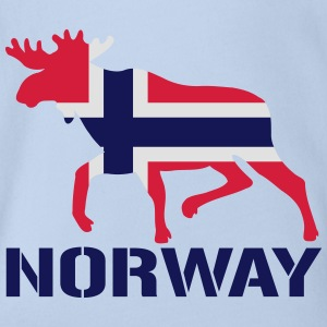 Elch Norwegen Flagge T-Shirts - Baby Bio-Kurzarm-Body