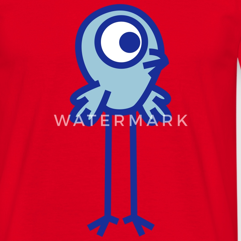 Red Long-Legged Cartoon  Birdie Vector Graphic by Cheerful Madness!! Men's T-Shirts - Men's T-Shirt