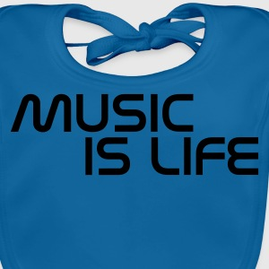 Azul intenso music is life without heart ES Camisetas niños - Babero ecológico bebé