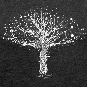 A white tree Bags & Backpacks - Women's T-shirt with rolled up sleeves