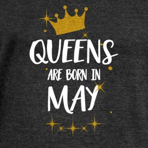 QUEENS ARE BORN IN MAY T-Shirts - Women's Boat Neck Long Sleeve Top