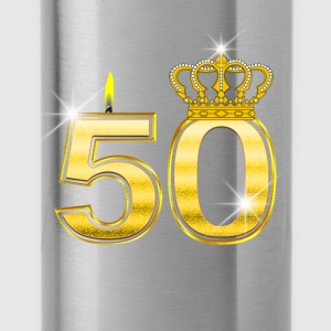 50 - Birthday - Queen - Gold - Flame & Crown Langermede T-skjorter for babyer - Drikkeflaske
