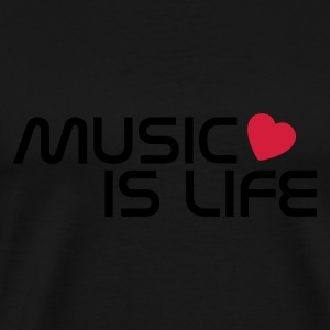 Svart music is life heart Tröjor - Premium-T-shirt herr