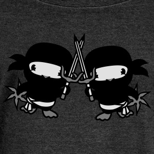 Fight duel 2 friends team couple fighter ninja  T-Shirts - Women's Boat Neck Long Sleeve Top