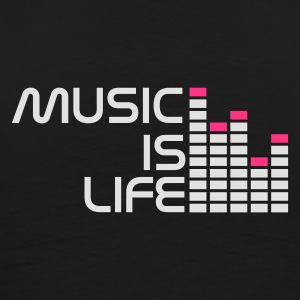 Zwart music is life equalizer r NL Jacks - Mannen Premium T-shirt