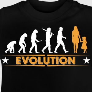 Mor og datter - evolution - orange/hvid T-shirts - Baby T-shirt