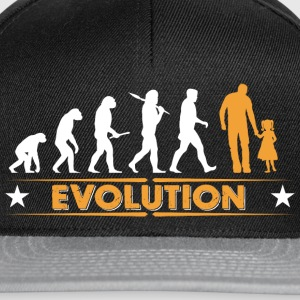 Far och dotter - evolution - orange/vit T-shirts - Snapbackkeps