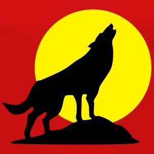 Wolf and full moon (super cheap!) T-shirts - Dame premium T-shirt med lange ærmer