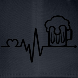 beer glass frequency pulse heart beat hearts T-Shirts - Flexfit Baseball Cap