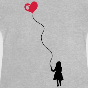 Silhouette of a little girl with a heart balloon.  - Baby T-Shirt