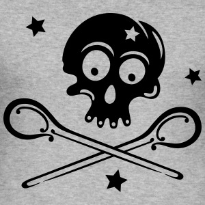Skull with spoons and stars. - Men's Slim Fit T-Shirt