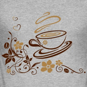 Coffee Cup with coffee beans, flowers and hearts. - Men's Slim Fit T-Shirt